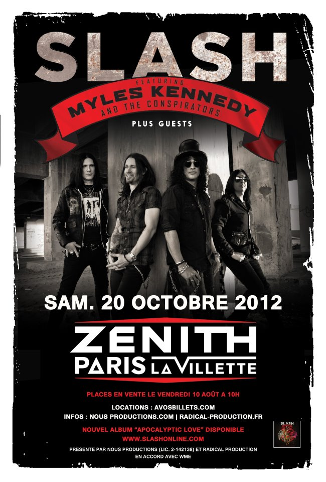Slash france Myles kennedy live conspirators 20 octobre 2012 plan zenith