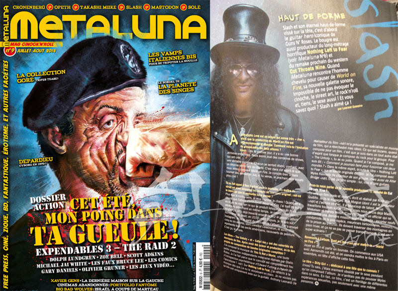 Slash france metaluna magazine french press promo world on fire 2014 july summer conspirators myles kennedy
