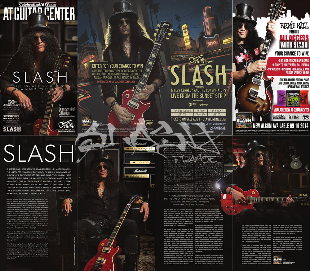 Slash france guitar center catalog 2014 august aout conspirators world on fire sunset strip concert launch