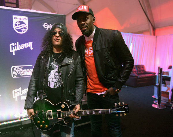 Slash france gibson les paul anaconda burst ces vegas usain bolt 2017