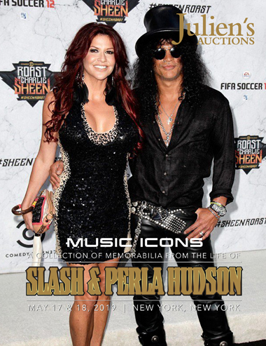 Slash france julien auction perla hudson los angeles hard rock cafe